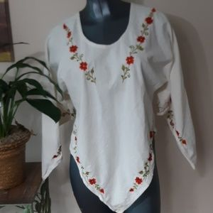 EMBROIDERED PEASANT TOP size medium large